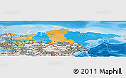 Political Panoramic Map of Russia, shaded relief outside, bathymetry sea