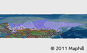 Political Shades Panoramic Map of Russia, darken