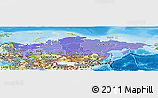 Political Shades Panoramic Map of Russia, physical outside