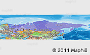 Political Shades Panoramic Map of Russia