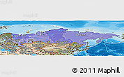 Political Shades Panoramic Map of Russia, satellite outside, bathymetry sea