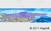 Political Shades Panoramic Map of Russia, semi-desaturated, land only