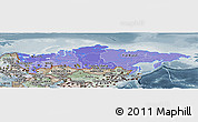 Political Shades Panoramic Map of Russia, semi-desaturated