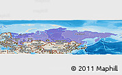 Political Shades Panoramic Map of Russia, shaded relief outside, bathymetry sea