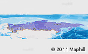 Political Shades Panoramic Map of Russia, single color outside