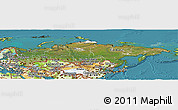 Satellite Panoramic Map of Russia, physical outside, satellite sea
