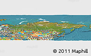 Satellite Panoramic Map of Russia, political outside, satellite sea
