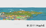 Satellite Panoramic Map of Russia, political shades outside, satellite sea