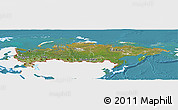 Satellite Panoramic Map of Russia, single color outside