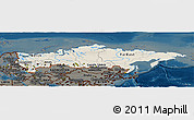 Shaded Relief Panoramic Map of Russia, darken