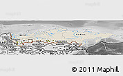 Shaded Relief Panoramic Map of Russia, desaturated