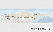 Shaded Relief Panoramic Map of Russia, lighten