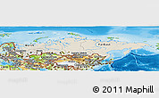 Shaded Relief Panoramic Map of Russia, physical outside