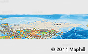 Shaded Relief Panoramic Map of Russia, political outside, shaded relief sea