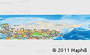 Shaded Relief Panoramic Map of Russia, political shades outside, shaded relief sea