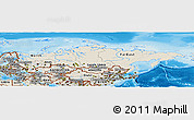 Shaded Relief Panoramic Map of Russia