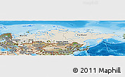 Shaded Relief Panoramic Map of Russia, satellite outside, shaded relief sea