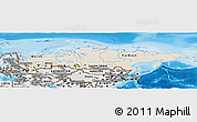 Shaded Relief Panoramic Map of Russia, semi-desaturated, land only