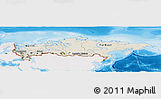 Shaded Relief Panoramic Map of Russia, single color outside