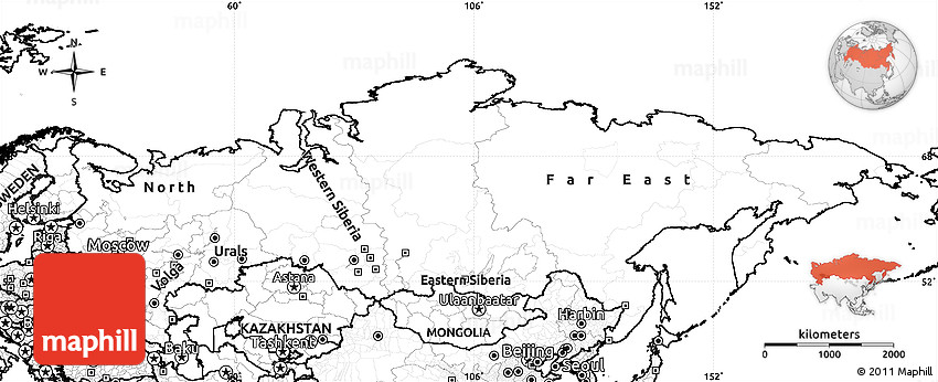 Blank Simple Map Of Russia - Blank map of russia