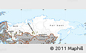 Gray Simple Map of Russia