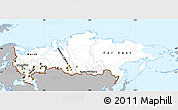 Gray Simple Map of Russia, single color outside