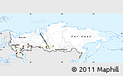 Silver Style Simple Map of Russia, single color outside