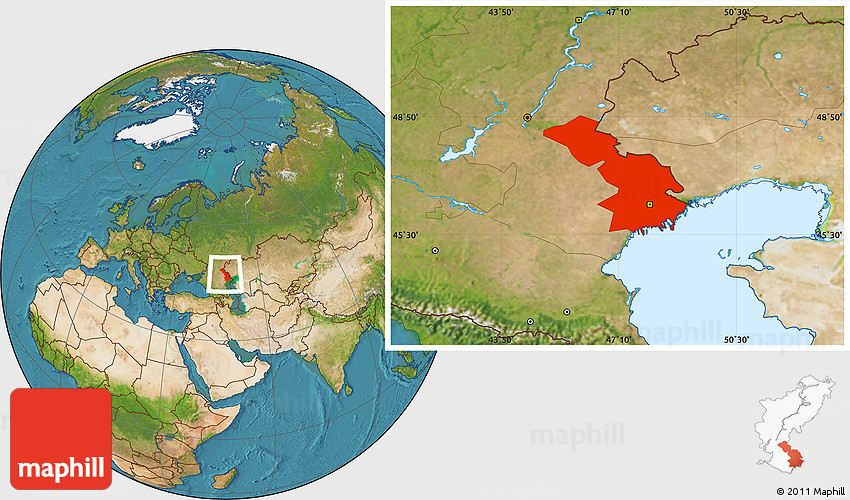 Satellite Location Map of Astrakhan Oblast