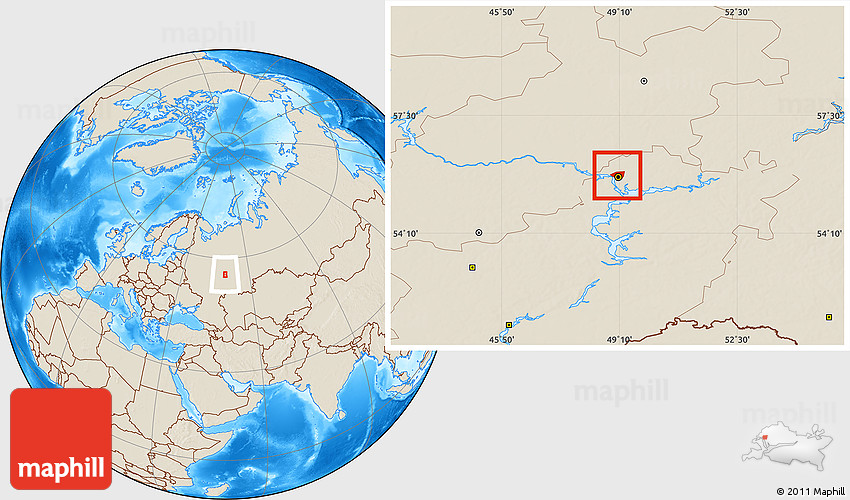 Shaded Relief Location Map of Kazan
