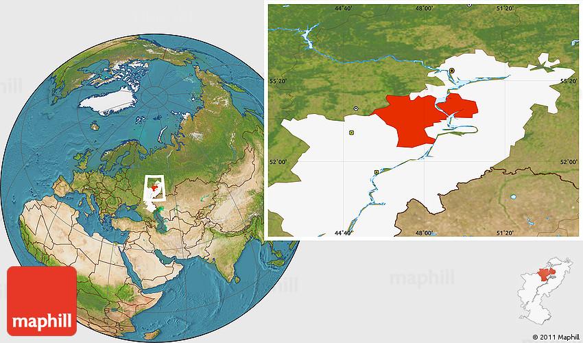 Satellite Location Map of Ulyanovsk Oblast highlighted parent region