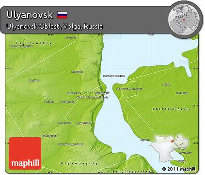 Free Physical Map of Ulyanovsk