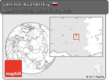 Free Blank Location Map Of LeninskKuznetskiy Highlighted - Leninsk map