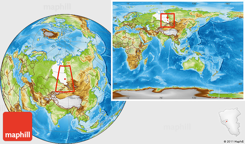 Physical Location Map Of LeninskKuznetskiy Highlighted - Leninsk map