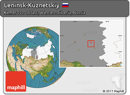 Free Satellite Location Map Of LeninskKuznetskiy Highlighted - Leninsk map