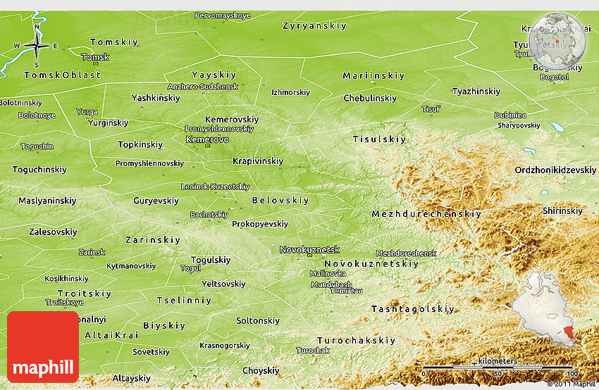 Physical Panoramic Map of Kemerovo Oblast