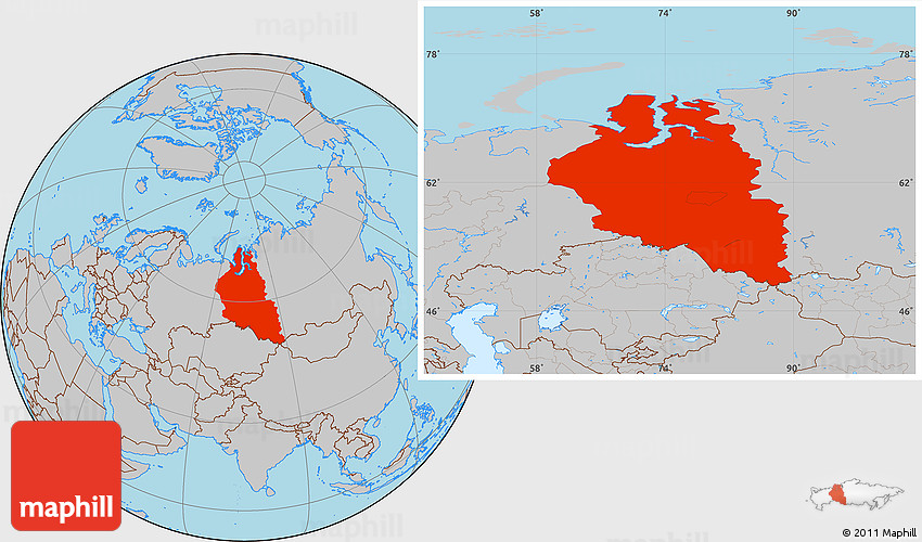 Where Is Siberia On A World Map.Gray Location Map Of Western Siberia