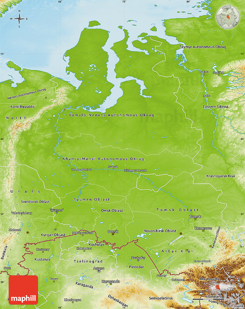 Physical Map Of Western Siberia