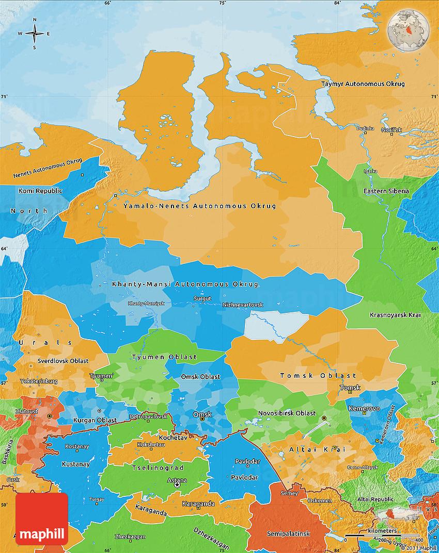 Political Map of Western Siberia