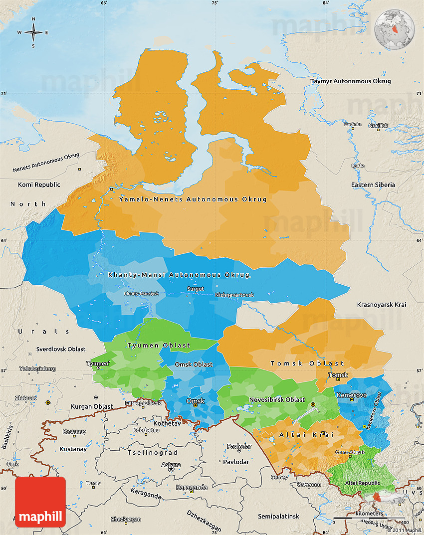 Picture of: Political Map Of Western Siberia Shaded Relief Outside
