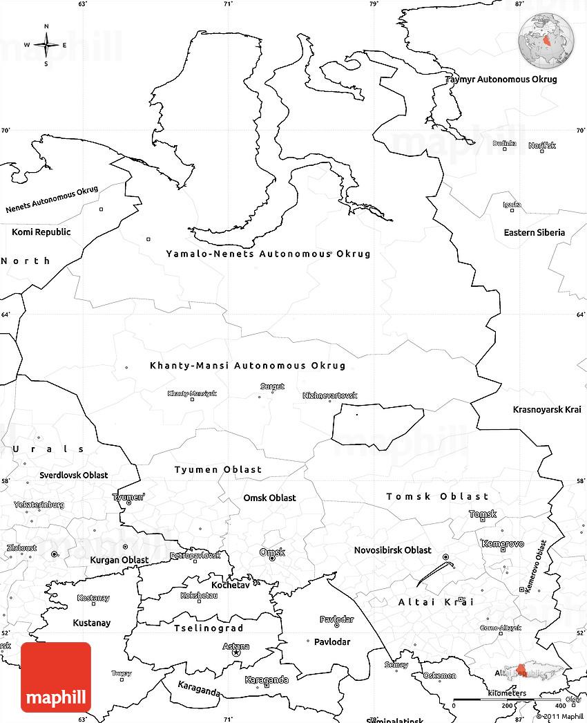 Blank Simple Map Of Western Siberia
