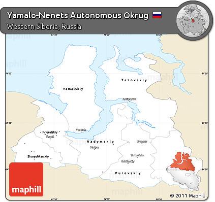 Classic Style Simple Map of Yamalo-Nenets Autonomous Okrug, single color outside