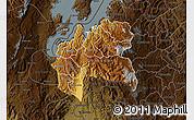 Physical Map of Cyangugu, darken