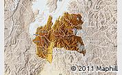 Physical Map of Cyangugu, lighten