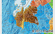 Physical Map of Cyangugu, political shades outside