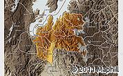 Physical Map of Cyangugu, semi-desaturated