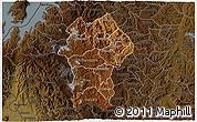 Physical 3D Map of Gikongoro, darken