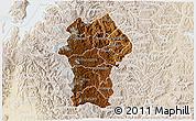 Physical 3D Map of Gikongoro, lighten