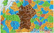 Physical 3D Map of Gikongoro, political outside