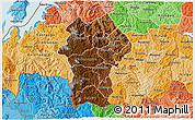 Physical 3D Map of Gikongoro, political shades outside