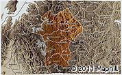 Physical 3D Map of Gikongoro, semi-desaturated